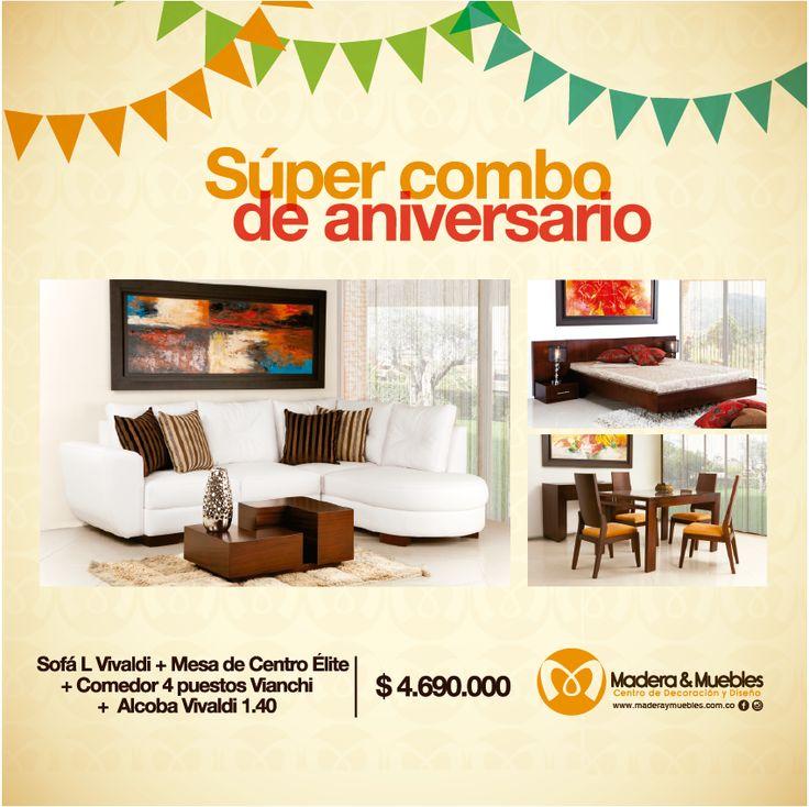 Compartimos mágicos momentos; nuestro aniversario # 19 es uno de ellos. #Salas #Muebles #Decoración  www.maderaymuebles.com.co
