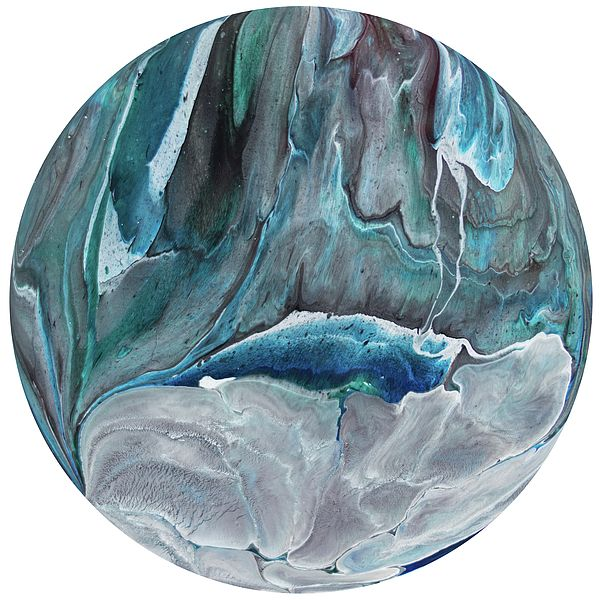 Polaris 10 - A contemporary painting created using acrylic pour techniques. Painted on plastic coated aluminium discs. Inspired by the planets and sci-fi fantasy visual themes.