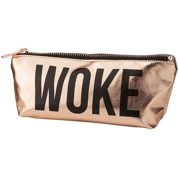Charlotte Russe Woke Pencil Case ($4.99) ❤ liked on Polyvore featuring home, home decor, office accessories, rose gold, zipper pencil pouch, charlotte russe, zipper pencil case and zip pencil case