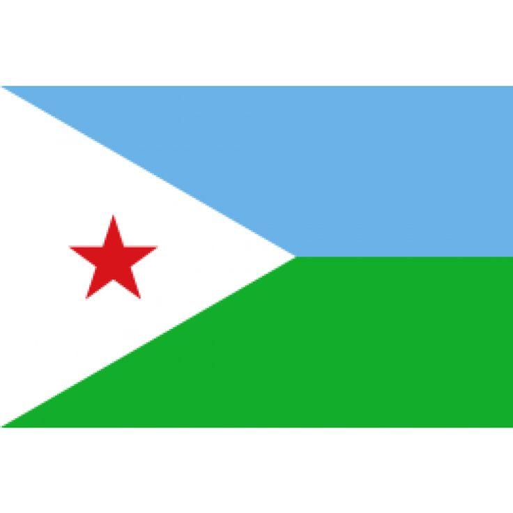 vlag Djibouti, Djibouti vlaggen 150x225cm e vlag van Djibouti bestaat uit twee even brede horizontale banden van lichtblauw (boven) en groen met links een witte driehoek met daarin een vijfpuntige rode ster. De vlag werd voor het eerst gehesen op 27 juni 1977, de dag dat het land onafhankelijk werd.