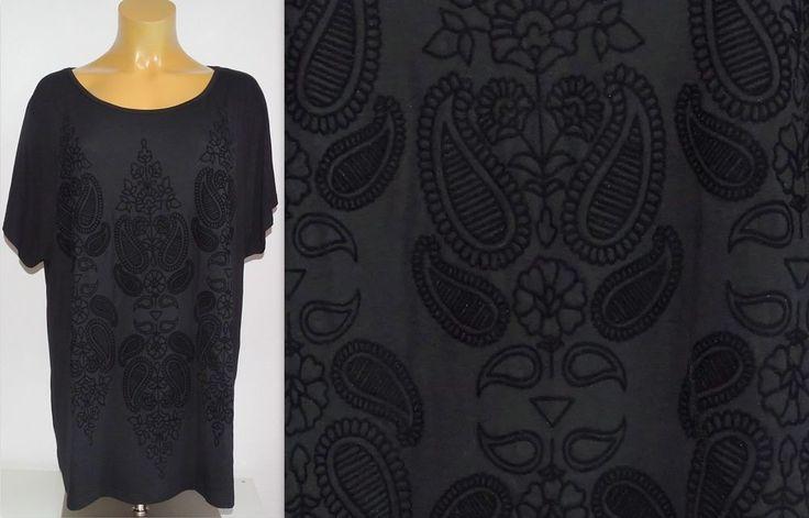 NEU Übergröße tolles Damen Long Shirt schwarz mit eleganten Samt Muster Gr.56/58