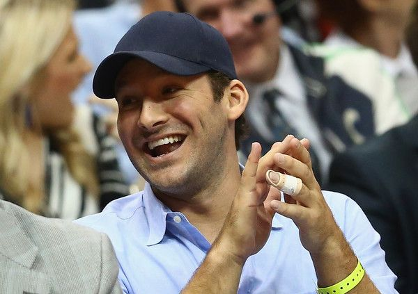 Tony Romo Photos Photos - Tony Romo of the Dallas Cowboys attends a game between the Utah Jazz and the Dallas Mavericks at American Airlines Center on February 11, 2015 in Dallas, Texas.  NOTE TO USER: User expressly acknowledges and agrees that, by downloading and or using this photograph, User is consenting to the terms and conditions of the Getty Images License Agreement. - Utah Jazz v Dallas Mavericks
