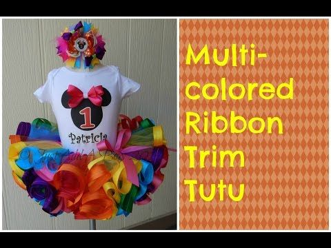 HOW TO: Make a Multicolored Ribbon Trim Tutu by Just Add A Bow - YouTube