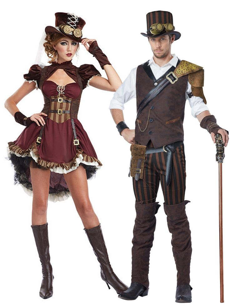 Déguisement de couple steampunk aventurier adulte
