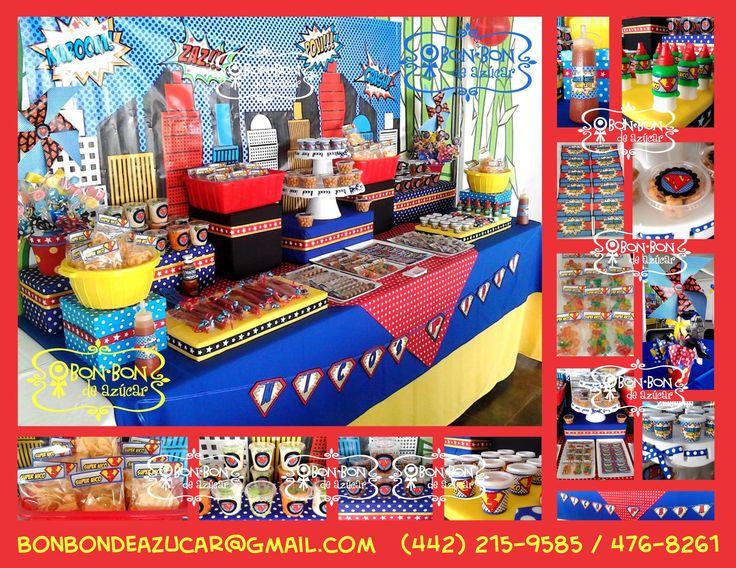 Mesa de dulces y snacks con tema de superman art culos for Mesas de dulces infantiles
