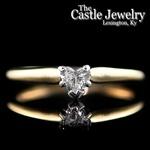 Heart Shaped .35 C Diamond Solitaire 14 Karat Yellow Gold Engagement Ring
