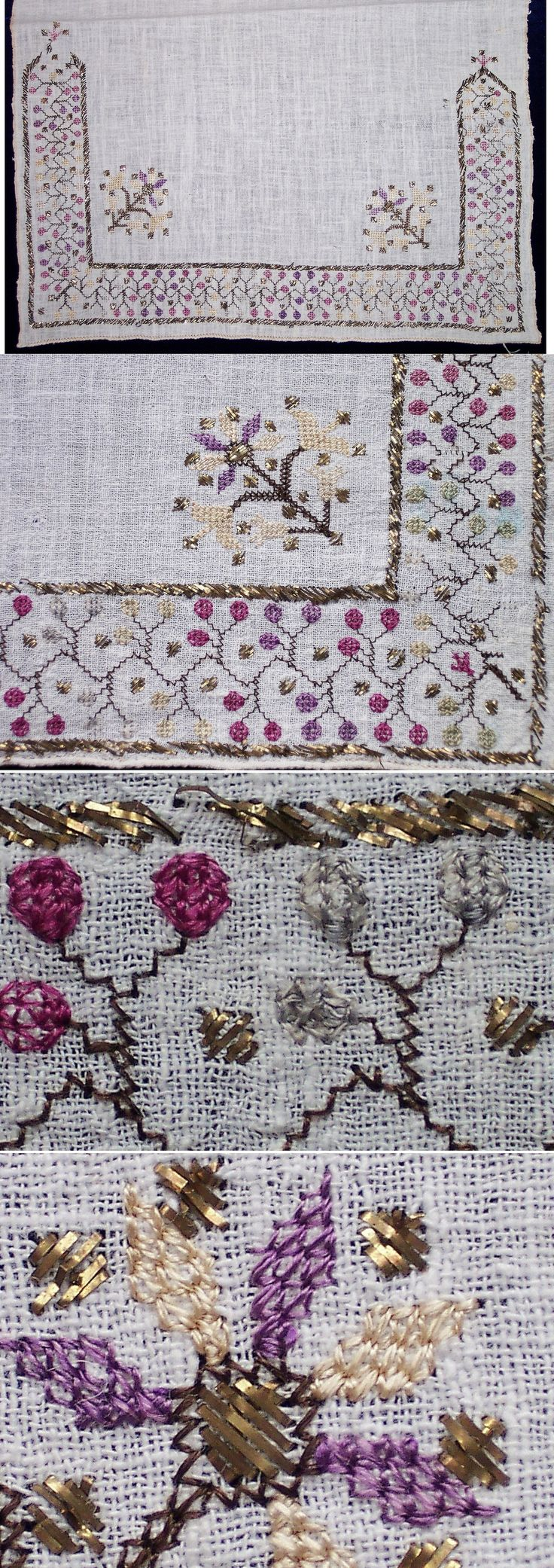 One embroidered end of a linen 'makrama' (embroidered napkin).  From the Marmara region, 2nd half of 19th century.  The 'two-sided' embroidery (identical on both sides of the fabric) is executed in both multi-coloured silk and 'tel kırma' (motives obtained by sticking narrow metallic strips through the fabric and folding them).  (Inv.nr. brdw042 - Kavak Costume Collection - Antwerpen/Belgium).