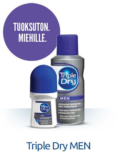 Triple Dry MEN -antiperspirantit sopivat kaikille, jotka tarvitsevat pitkäkestoista suojaa hikoilua vastaan. Antibakteeriset tuotteet eivät sisällä alkoholia eikä tuoksua, joten ne sopivat erinomaisesti myös herkkäihoisille ja hajusteallergisille. Tuotteiden hellävarainen koostumus sisältää hoitavia ainesosia, kuten aloe veraa, allantoiinia ja glyseriiniä, jotka vähentävät ihoärsytystä. #tripledryfinland #antiperspirantti