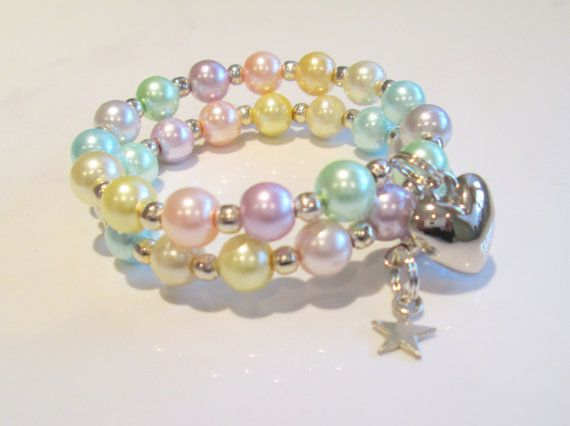 Charm Bracelet for Girls Pastel Pearls Star by AwfyBrawJewellery