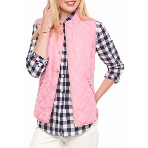 Crown  Ivy  Pink Sky Solid Puffer Vest - Women's found on Polyvore featuring polyvore, women's fashion, clothing, outerwear, vests, pink sky, sleeveless waistcoat, pink puffer vest, pink puffy vest and sleeveless vest