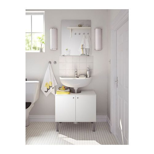 BALUNGEN Toilet brush holder, white Pedestal, Mirror with shelf and Small