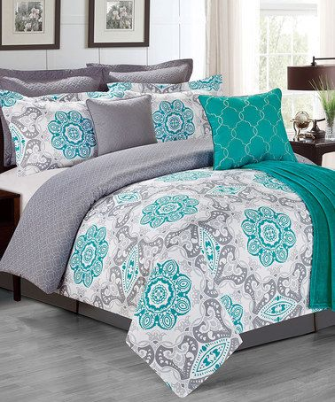 Another great find on #zulily! Teal Sunrise Bedding Set #zulilyfinds