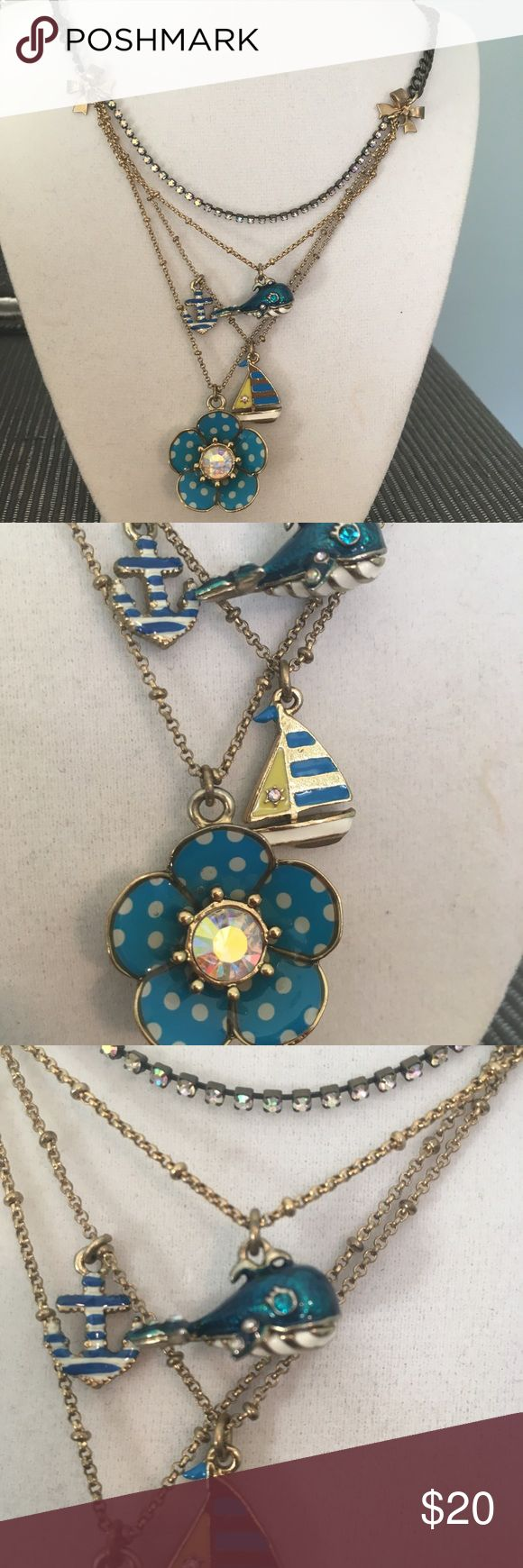 Betsy Johnson Nautical Necklace Cute piece with flowers, anchor and sailboat Betsey Johnson Jewelry Necklaces