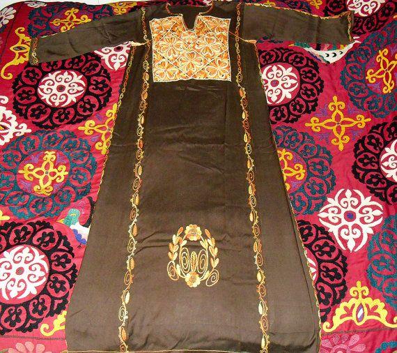 vintage moraccan kaftan | Vintage Moroccan Kaftan Dress Fully Embroidered Gold and Orange Ombre ...