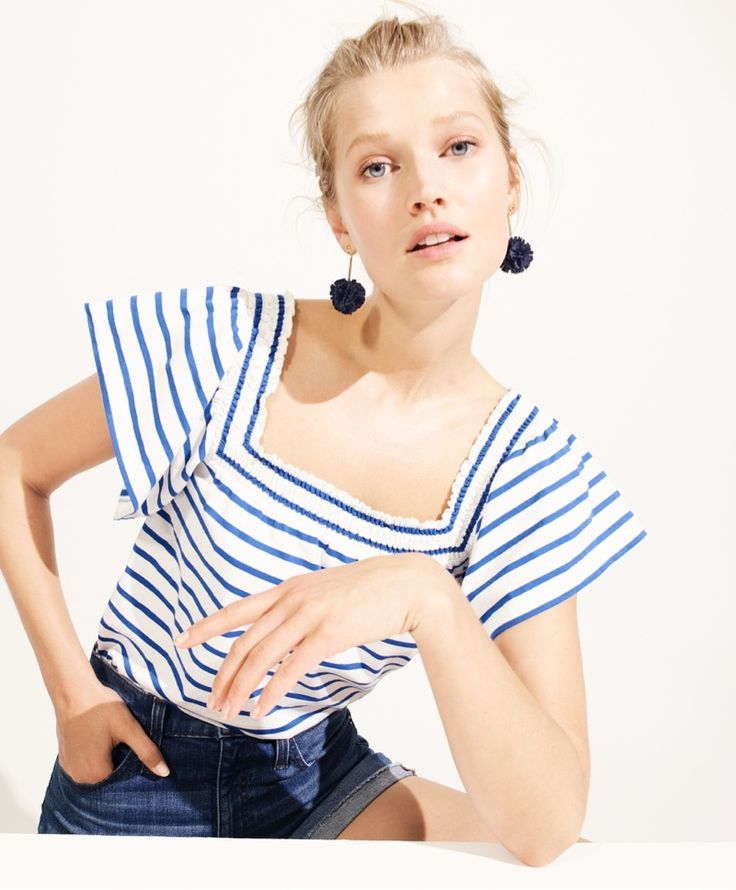 J. Crew Smocked Square-Neck Top in Stripe, Denim Short in Merrill Wash and Gathered Carnation Earrings