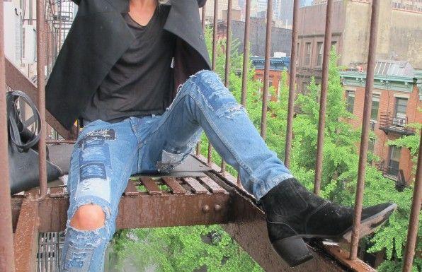 Elin KlingRipped Jeans, Rodarte Boots, Details Shots, Destroyer Denim, Dresses, Black Boots, Perfect Boots, Blue Ripped, Patchwork Denim