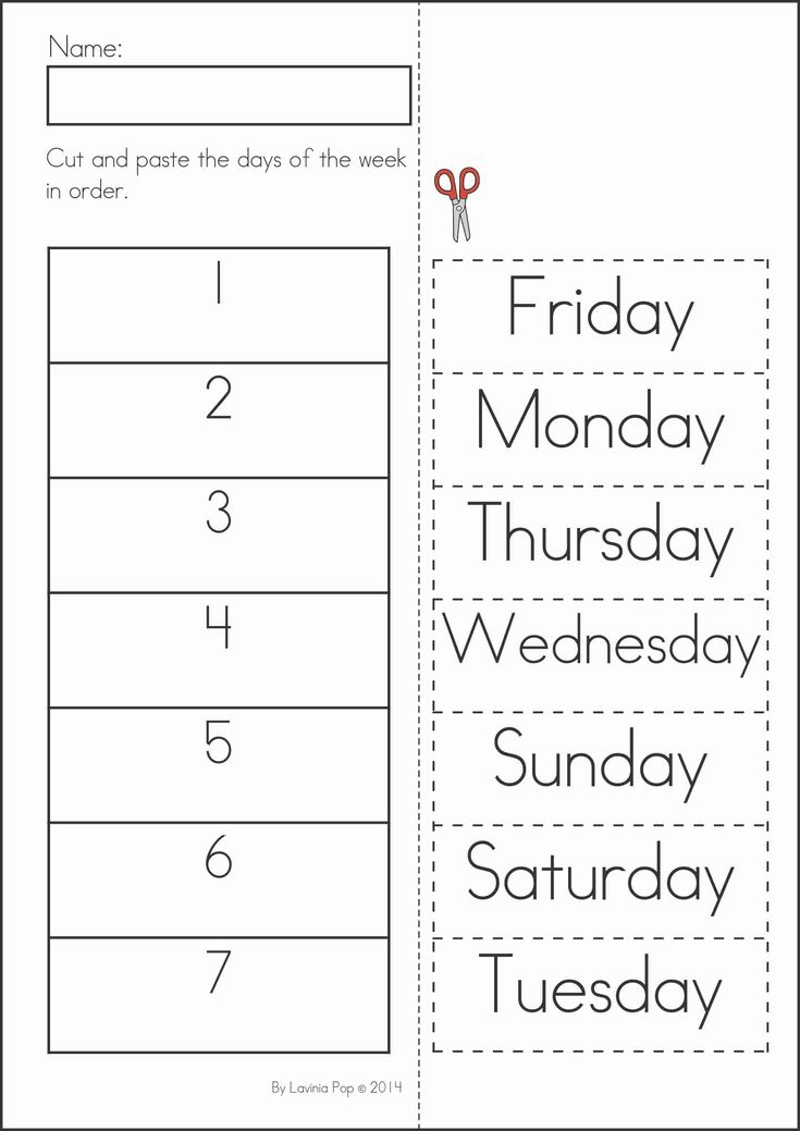 Kindergarten SUMMER Review Math  Literacy Worksheets  Activities. 104 pages. A page from the unit: Days of the week cut and paste