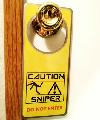 CAUTION SNIPER! Door Sign Great for Game Rooms Nintendo Wii PC XBOX 360 or PS3 Tactical