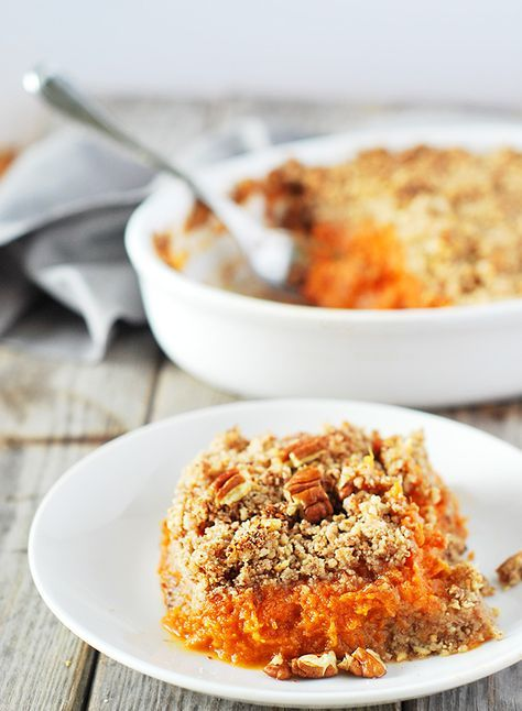 Fluffy sweet potato souffle, flavored with maple syrup, ginger and cardamom. Perfect side dish to grace your holiday table. Vegan,Gluten-Free,Refined Sugar Free