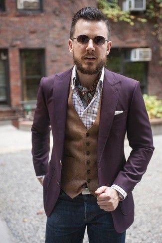 Men's Purple Blazer, Brown Waistcoat, White Plaid Long Sleeve Shirt, Charcoal Jeans