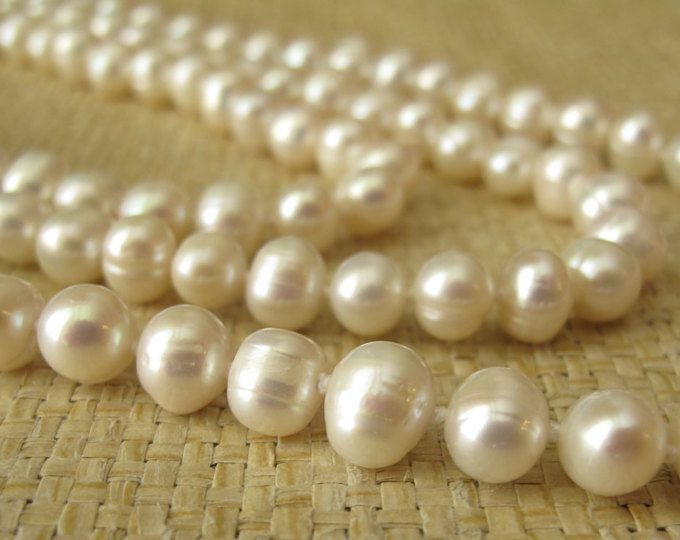 Natural White Freshwater Pearl Necklace, Long Pearl Necklace, Ivory White Pearl long Necklace, 72 inches Long Pearl Necklace Bridal Necklace