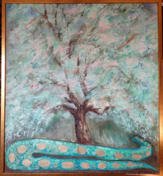 Fine Art painting, TREE and SNAKE, Large Original Oil PAINTING canvas, Modern Contemporary painting, Zen decor, Living room, Framed picture