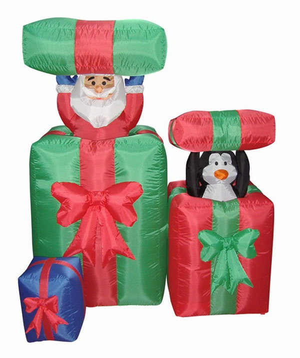 airblown inflatable animated peek a boo santa lighted christmas yard art - Lighted Christmas Presents