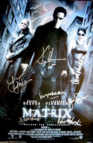 MATRIX (1999) original 27x40 movie poster cast signed by Keanu Reeves (Neo), Carrie Ann Moss (Trinity), Laurence Fishburne (Morpheus), Joe Pantoliano (Cypher), Hugo Weaving (Agent Smith) & the writers/directors Andy Wachowski & Larry Wachowski.