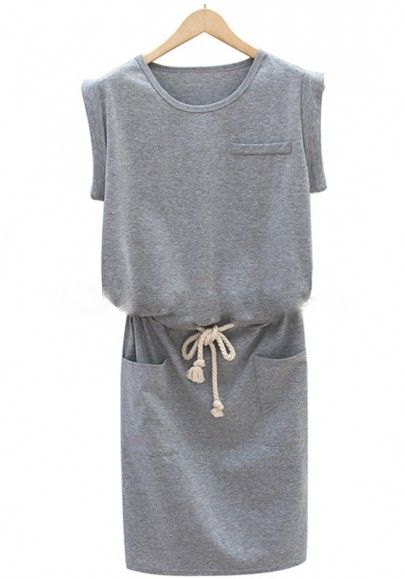 Grey Plain Drawstring Sleeveless Wrap Dress