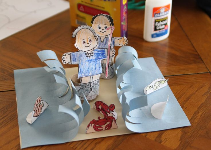"""Another pinner wrote....Moses parts the Red Sea craft. I had my preschoolers at church make this.  They used a fat crayon to roll the paper """"waves"""" so they'd curl."""