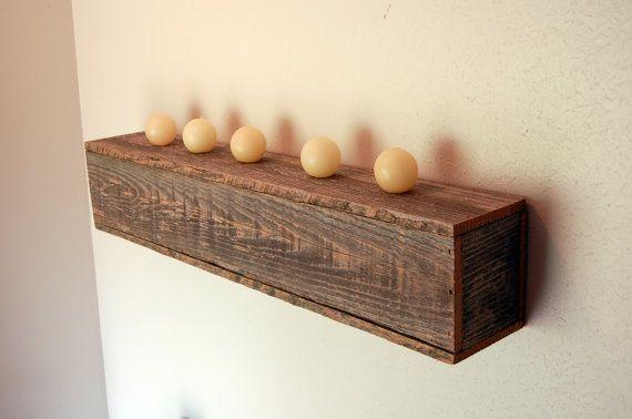 Farmhouse Box Shelf Floating Wood Shelf Recycled Cedar