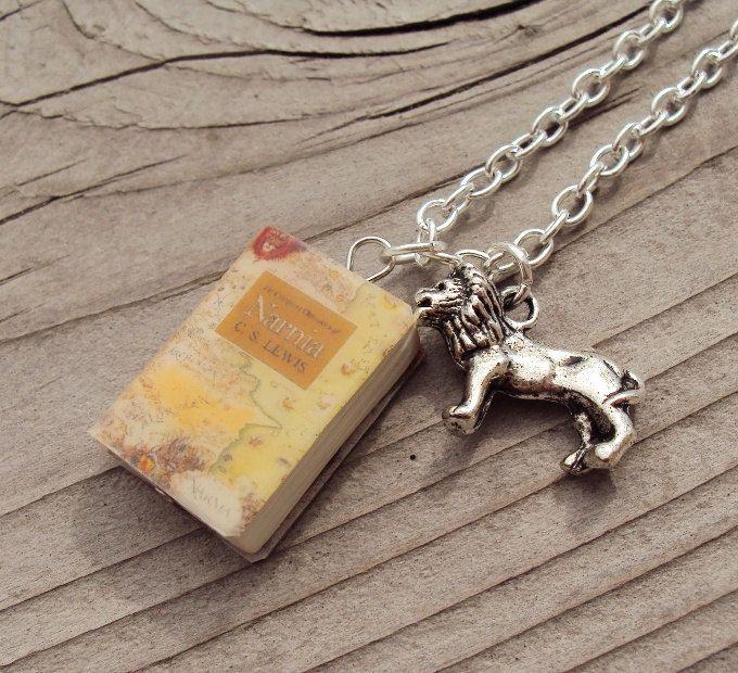 Chron.ofNarnia Necklace with Book Charm and AslanTheLion Charm. $12.99, via Etsy.