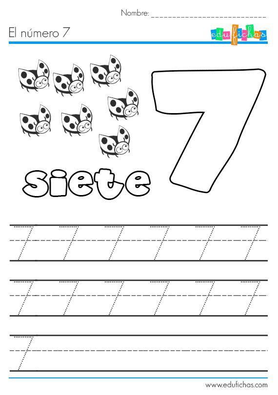 Ficha educativa con actividades y ejercicios para aprender el número 7. Descarga nuestras cartillas para aprender los números. Fichas para preescolar.