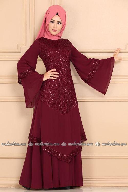 Modaselvim Abiye Volan Kollu Pul Payet Tesettur Abiye Ech7317 Bordo Pakaian Wanita Baju Muslim Wanita