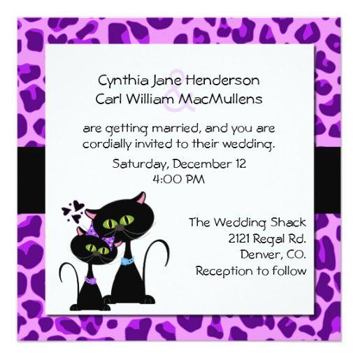 Purple Jaguar Print Black Cat Wedding Invitation