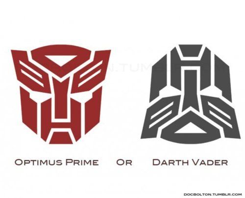 neither. The first one is obviously the autobot symbol the second is just a black one turned up side down.... SO TAKE THAT SOCIETY!!!!