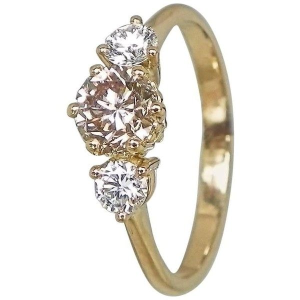 Preowned Exquisite Champagne And White Diamond Gold Three-stone... (€2.925) ❤ liked on Polyvore featuring men's fashion, men's jewelry, men's rings, white, mens gold band ring, mens white gold rings, mens champagne diamond ring, mens white gold diamond ring and mens yellow gold diamond rings