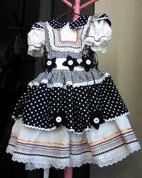 Resultado de imagem para vestido festa junina infantil preto e branco