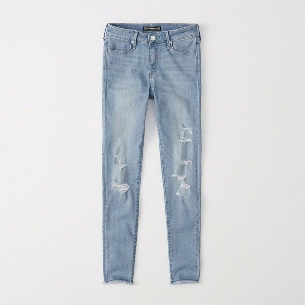 Abercrombie & Fitch Mid-Rise Ankle Jeans ($39) ❤ liked on Polyvore featuring jeans, ripped light wash, light wash ripped jeans, short pants, destructed skinny jeans, ankle zip jeans and ankle zipper jeans