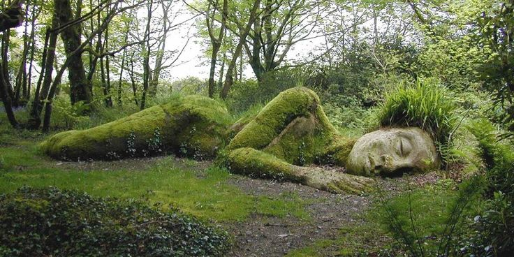 The Giant Statues in The Lost Gardens of Heligan in Cornwall, UK
