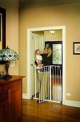 Walk Thru Baby Gate White Pet Safety Safe Extra Tall Door Dog Cat Fence Toddler