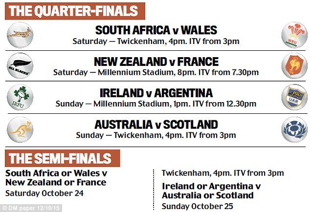Rugby World Cup quarter-finals: Who plays who as tournament reaches knock-outs? | Daily Mail Online