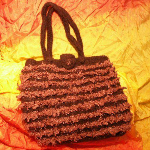 pletená  a plstěná kabelka - zapínání na knoflík