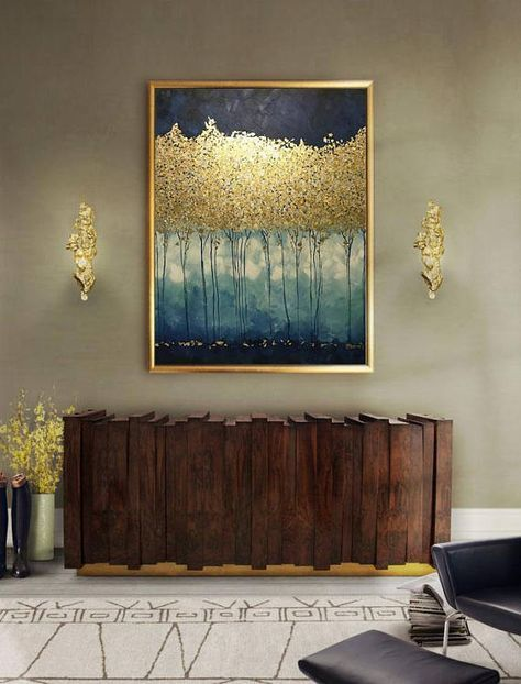 Wall Art And Decor For Living Room: Large Abstract Oil Painting, Gold Leaf Art, Large Wall Art