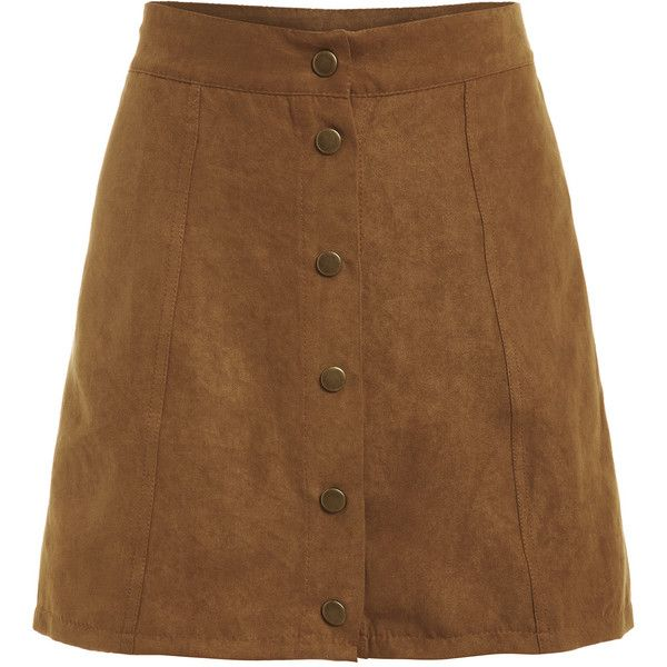 Faux Suede Buttoned Front Skirt - Khaki (£6.27) ❤ liked on Polyvore featuring skirts, brown skirt, short khaki skirt, khaki skirts, short a line skirt and above the knee skirts