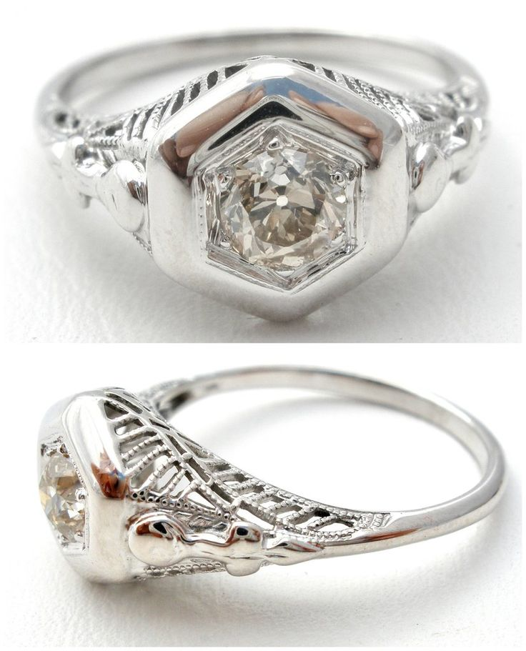 "Fine Antique Engagement Jewellery - This is an Art Deco period 14K white gold filigree ring with a .25 carat diamond. It is a size 6.5, .38"" at widest point, weighs 2.4 grams and is an exquisite ring,"