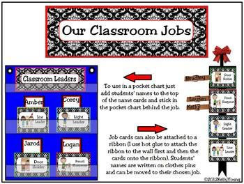"""Encourage your students to become leaders using these printable cards can be used to organize your student helpers. Can be used in a pocket chart or hung on a ribbon. There are 4 different sets to choose from: red, pink, green, or turquoise. Please do not hesitate to contact me to request custom colors or patterns!Includes more than 40 common classroom jobs, blank cards for any jobs you may have that are not listed, labels for """"Classroom Leaders"""" or """"Our Classroom Jobs""""."""