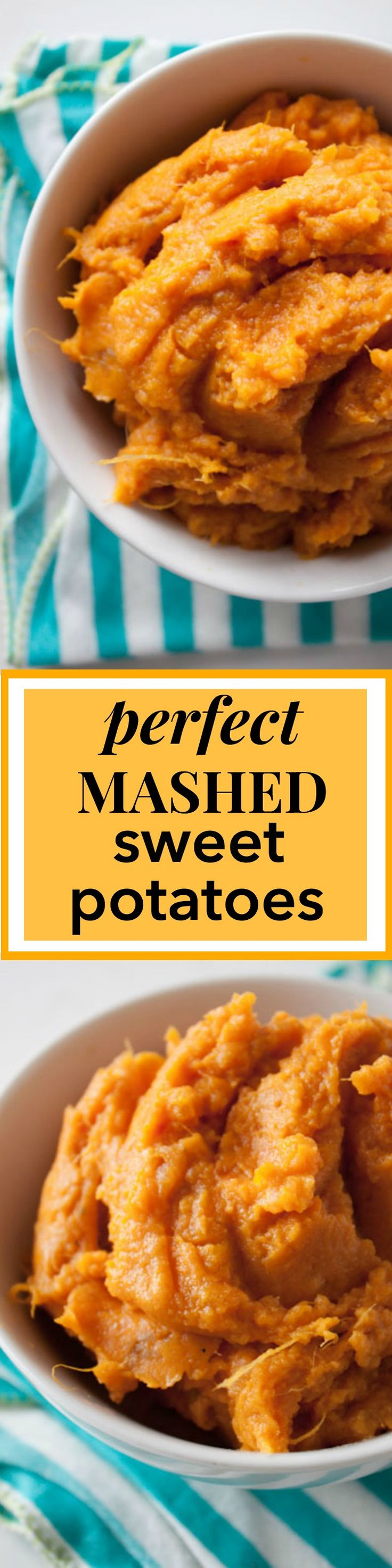 Perfect Mashed Sweet Potatoes Recipe! Add a little cinnamon, ginger, and nutmeg, and prepare to have the best side dish! The recipe can easily be made vegan with coconut oil and unsweetened almond milk. 152 calories per serving! #sidedish #sides #healthy via @andiemitchell