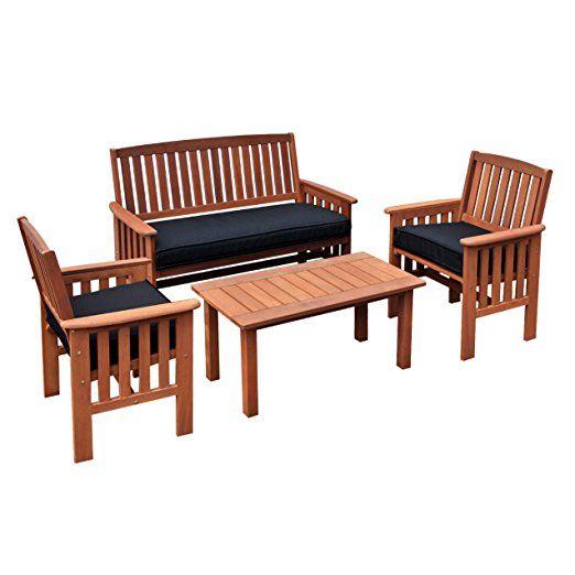 CorLiving PEX-868-Z Miramar 4 Piece Cinnamon Brown Hardwood Outdoor Chair and Coffee Table Set, Black
