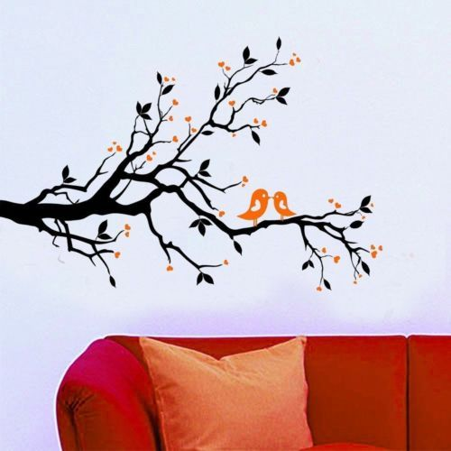 love heart tree bird removable vinyl wall decal sticker art mural home decor - Designer Wall Stickers